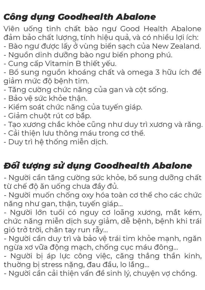 Tinh chất bào ngư Goodhealth Abalone, Chai 100 viên