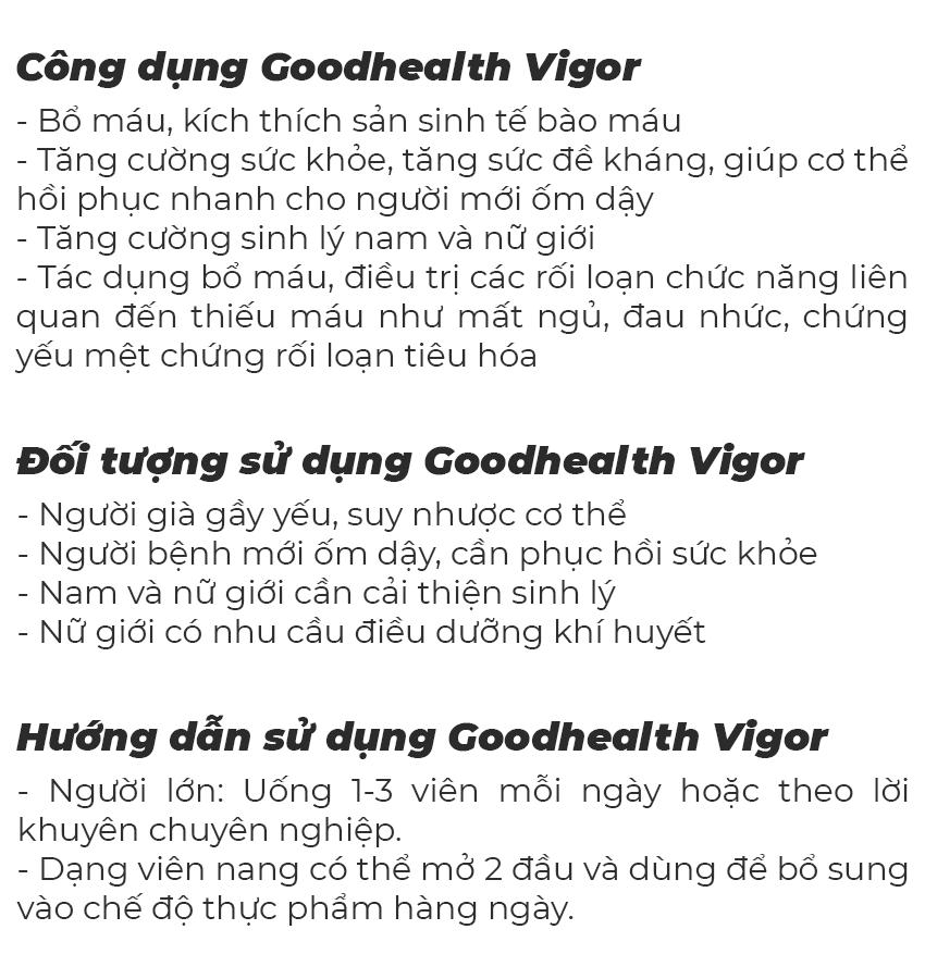 Tinh chất nhung hươu Goodhealth Vigor, bổ máu, bổ sinh lý, Chai 50 viên