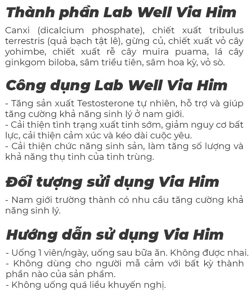 Lab Well Via Him tăng cường sinh lý nam, Chai 30 viên