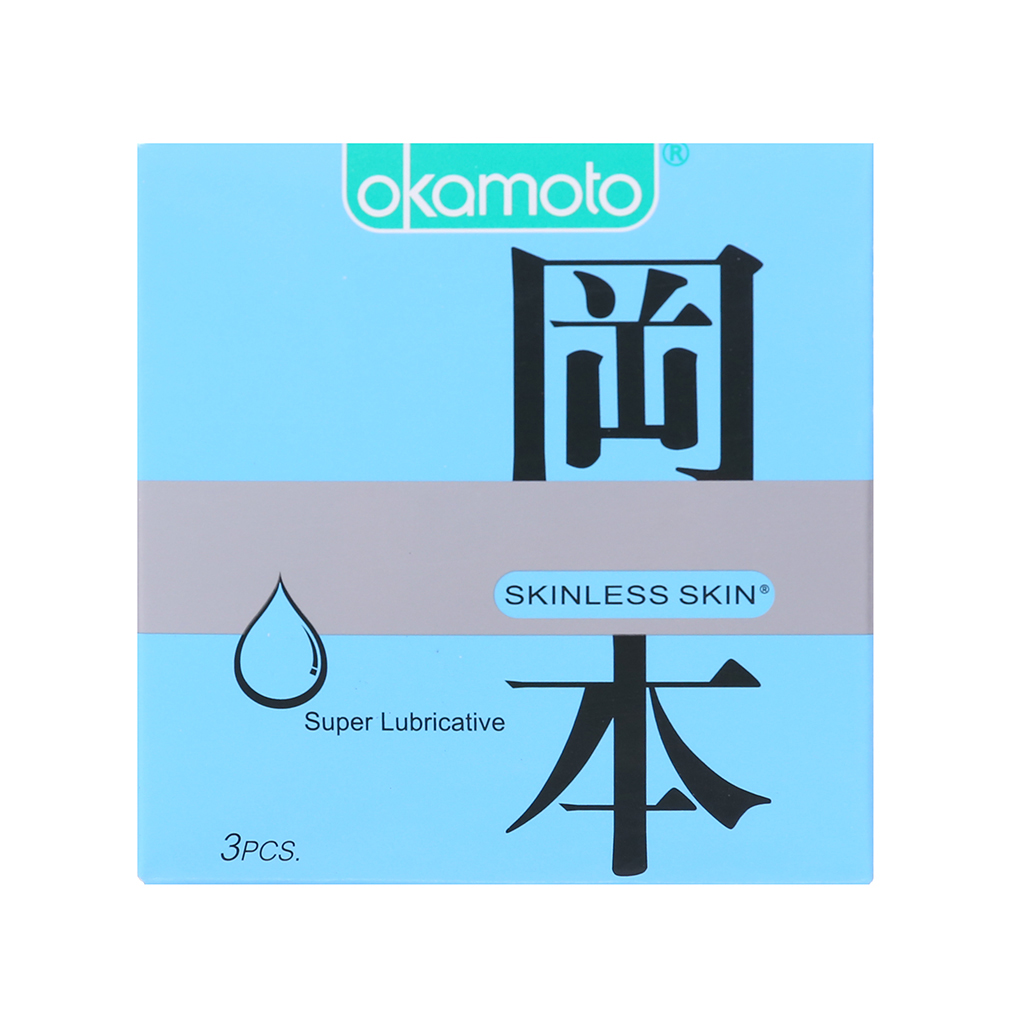 Bao cao su Okamoto Skinless Skin siêu bôi trơn, Hộp 3 cái