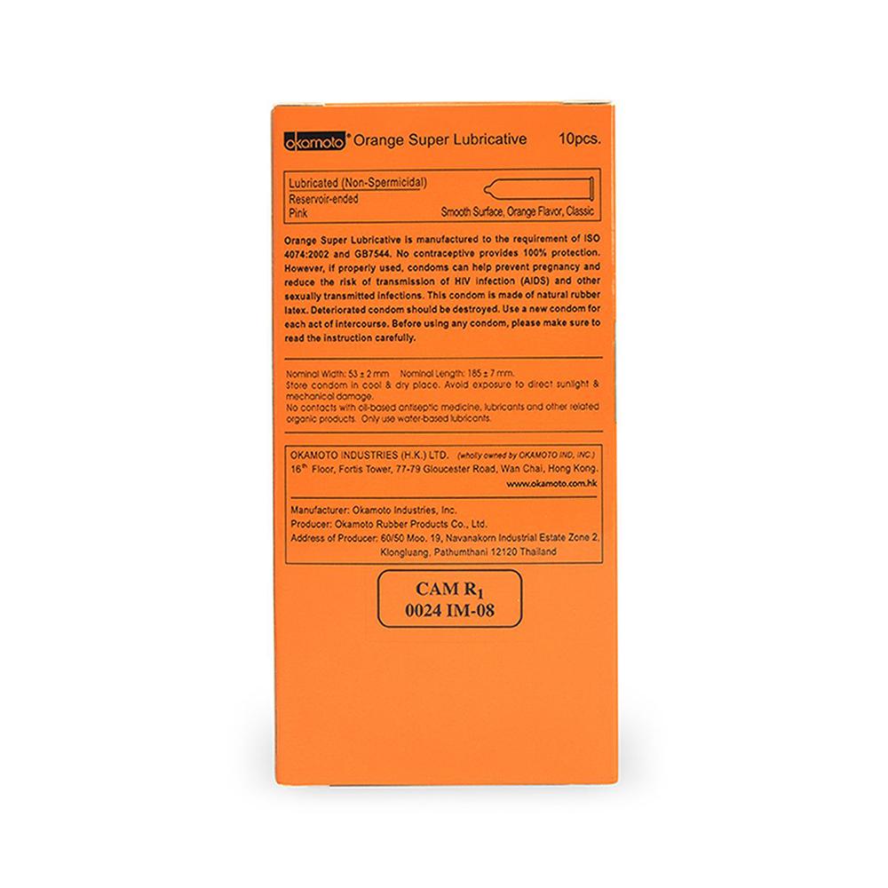 Bao cao su Okamoto Skinless Skin Orange Super Lubricated hương cam, Hộp 10 cái