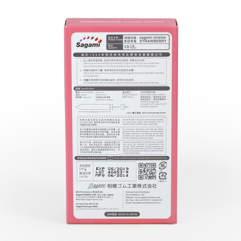 Bao cao su Sagami Xtreme Strawberry hương dâu, Hộp 10 cái