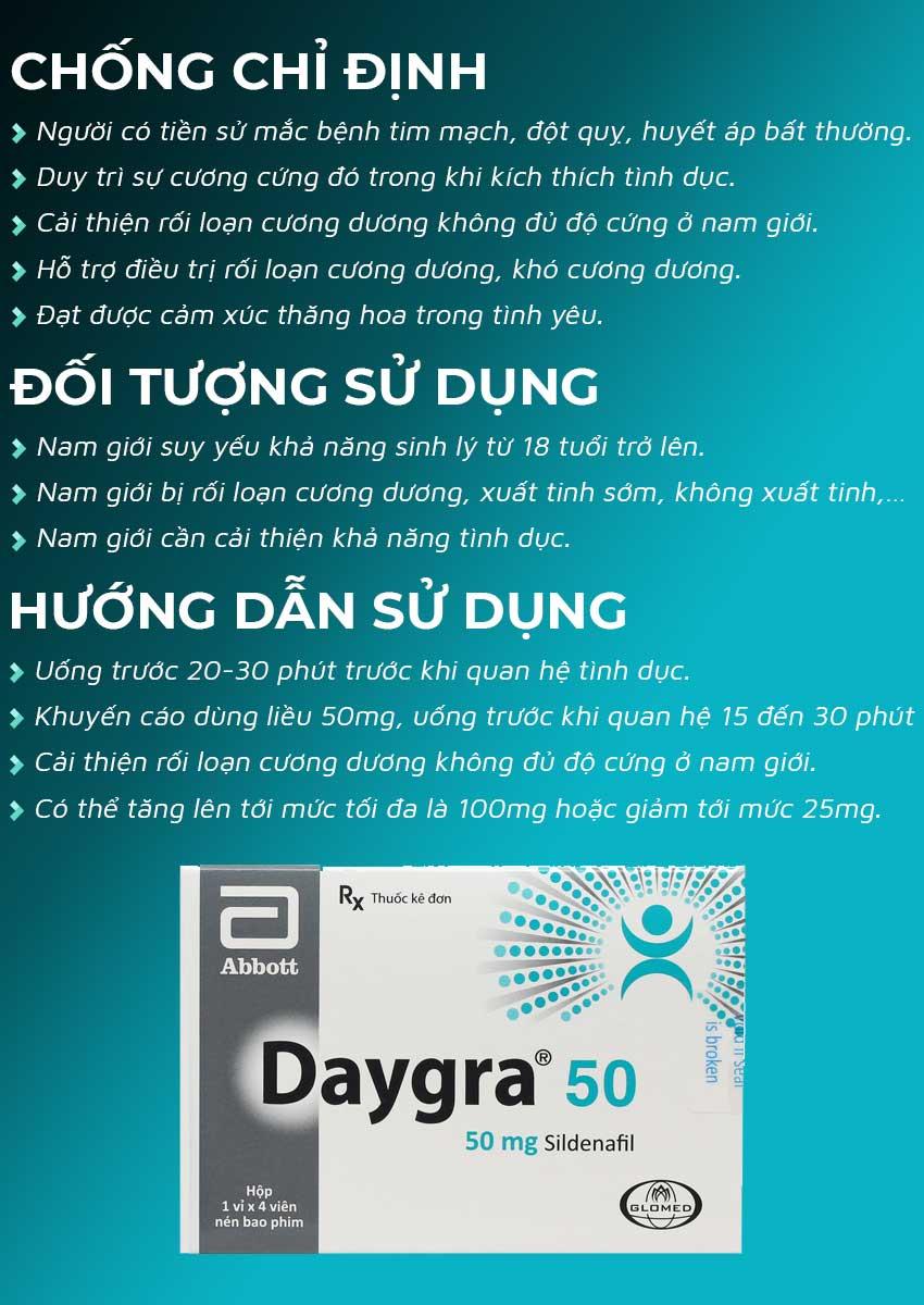 Thuốc cường dương daygra 100mg đối tượng sử dụng và cách dùng