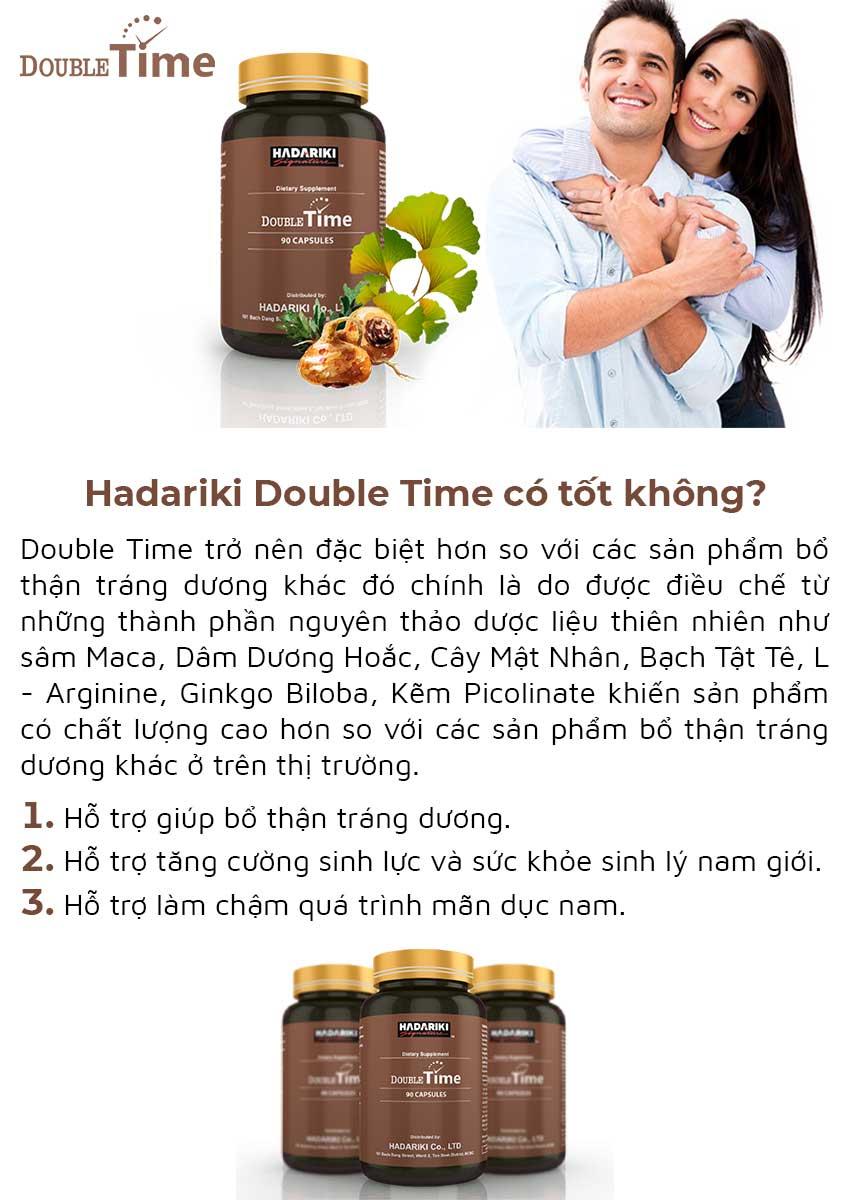Hadariki Double Time tăng cường sinh lý nam, Hộp 90 viên