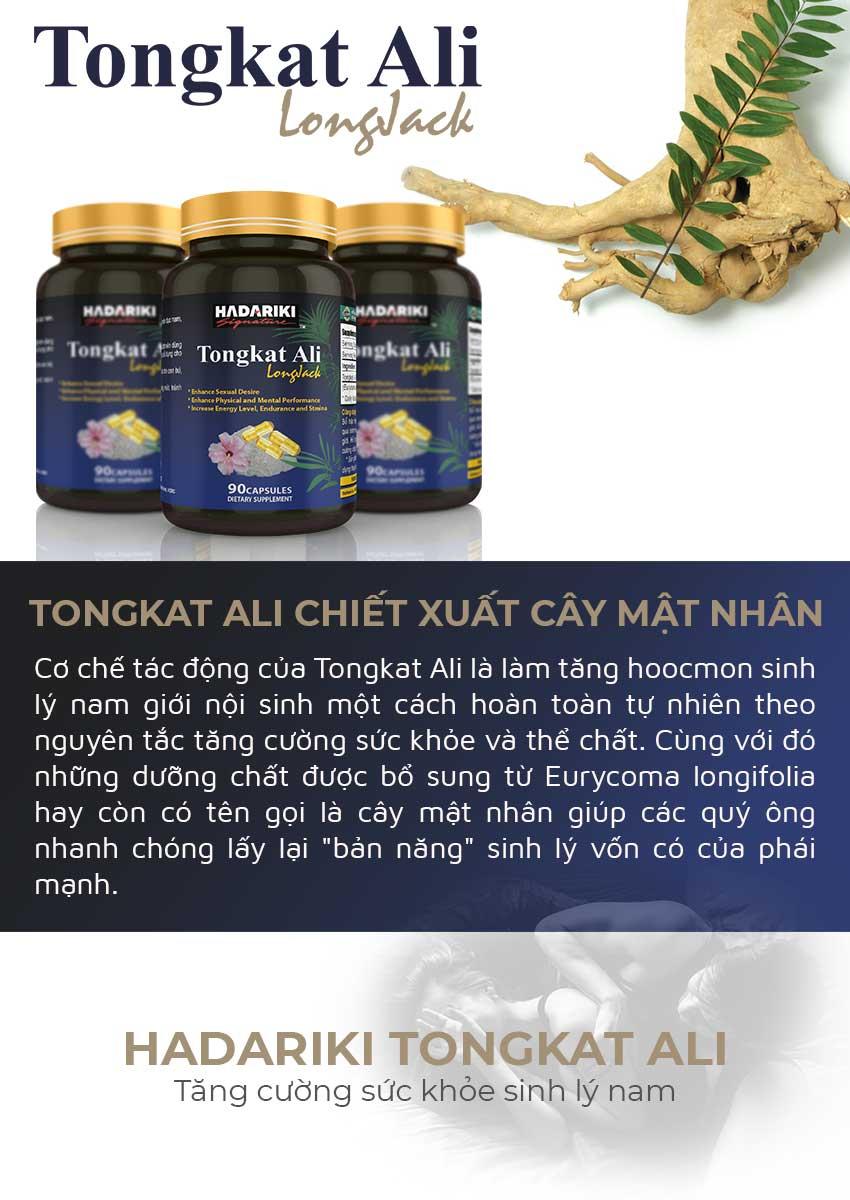 Hadariki Tongkat Ali tinh chất cây mật nhân tăng cường sinh lý nam, Hộp 90 viên