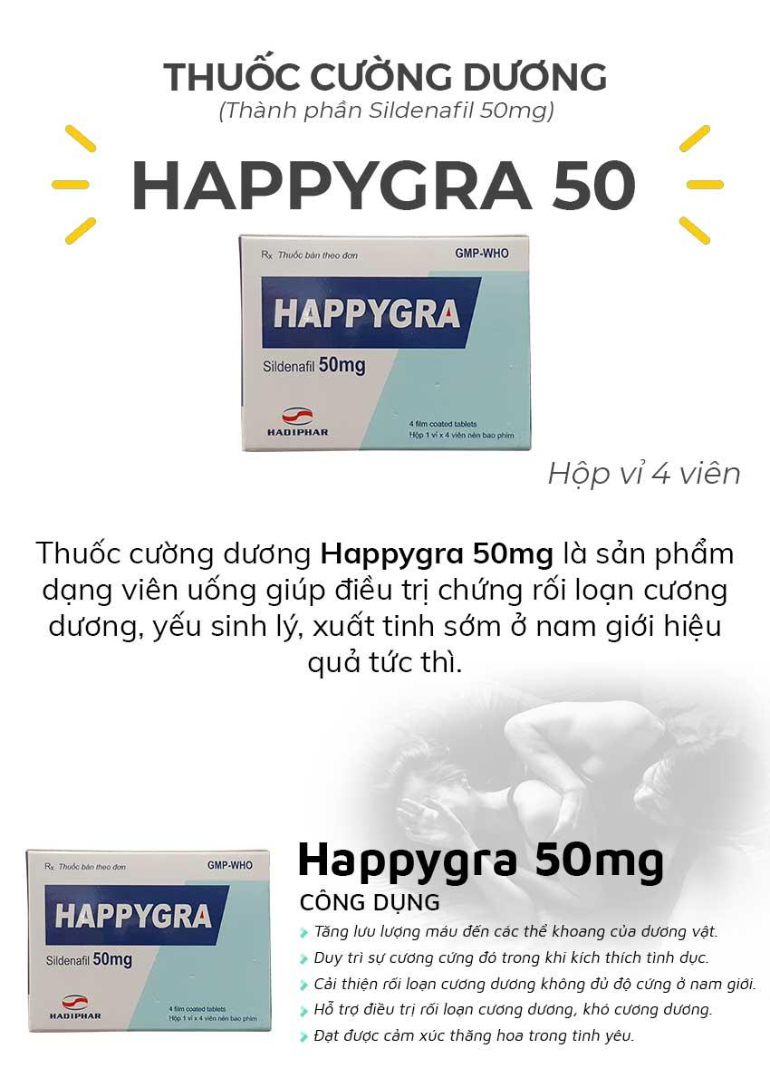 Thuốc cường dương Happygra 50mg và công dụng