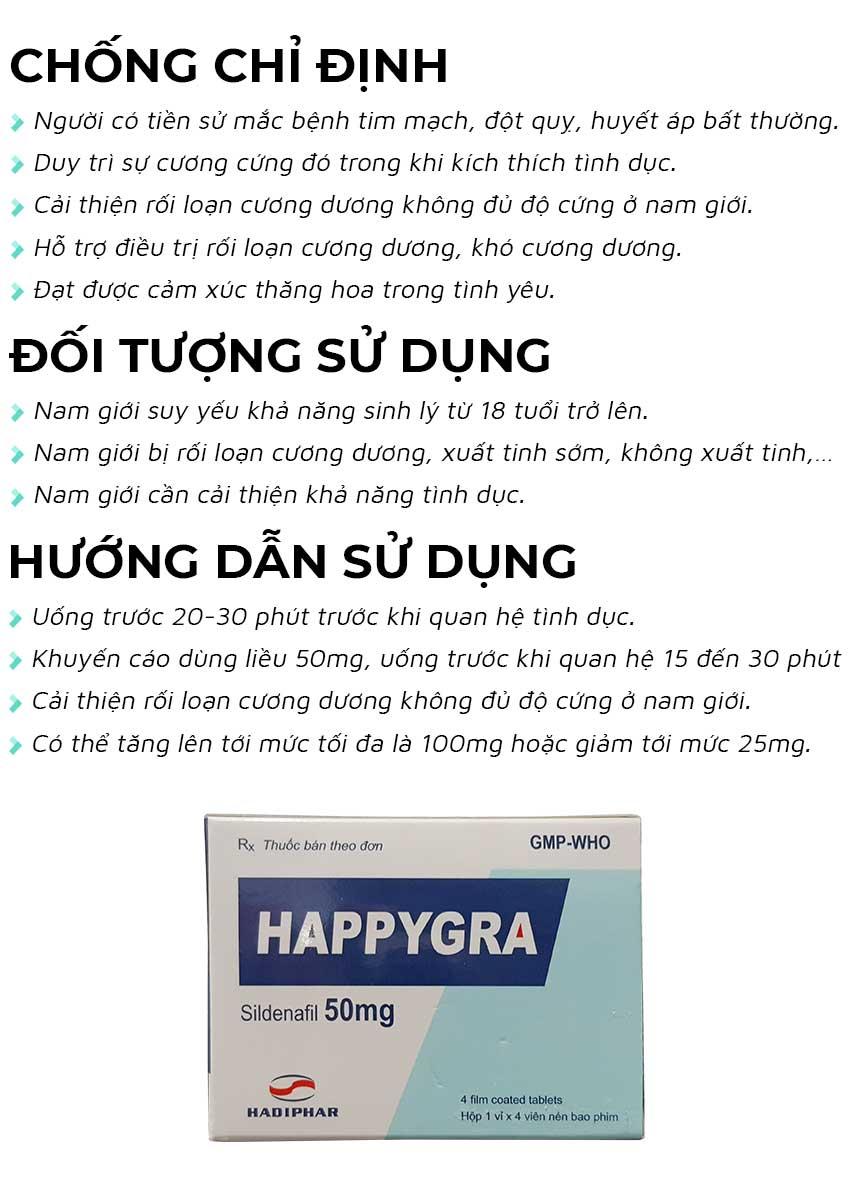 Thuốc cường dương Happygra 50mg đối tượng sử dụng và cách dùng