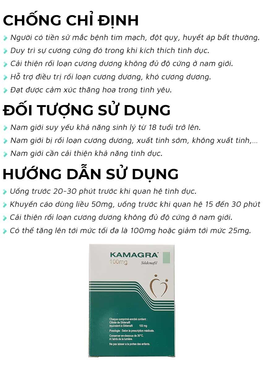 Thuốc cường dương Karmagra 100mg đối tượng sử dụng và cách dùng