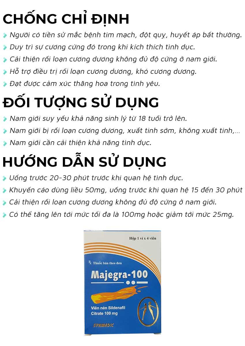 Thuốc cường dương Majegra 100mg đối tượng sử dụng và cách dùng