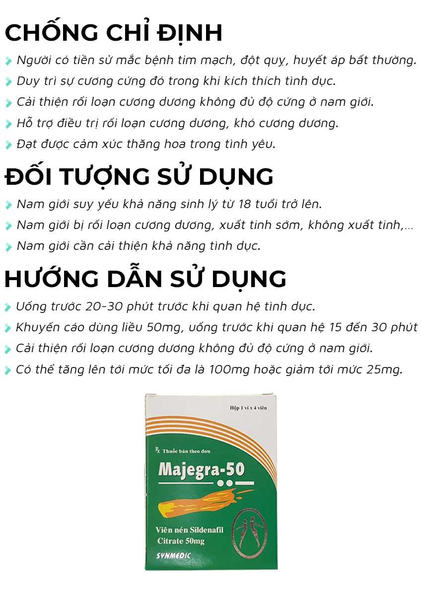 Thuốc cường dương Majegra 50mg đối tượng sử dụng và cách dùng