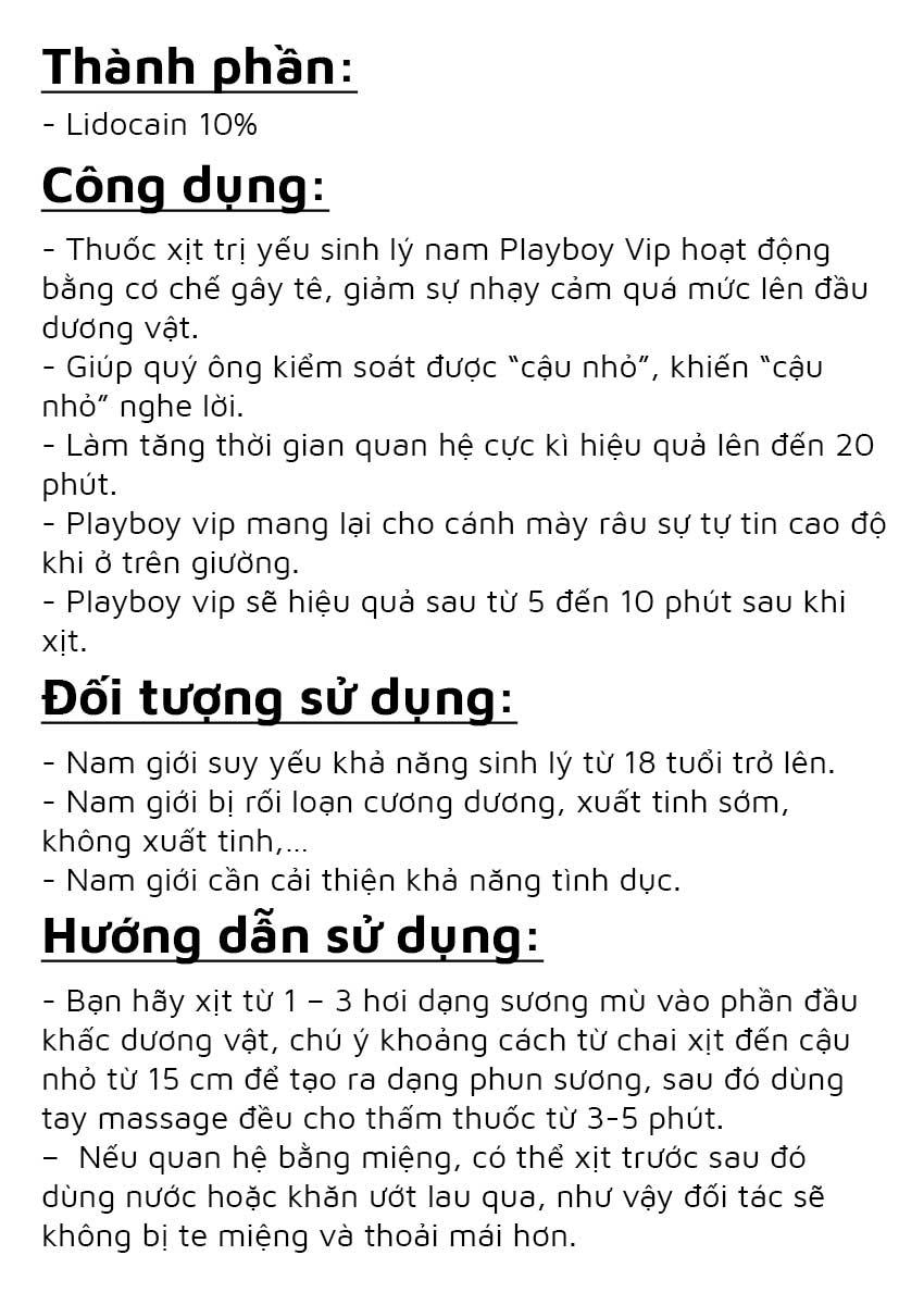 Chai xịt kéo dài thời gian quan hệ Playboy Vip, Chai 10ml