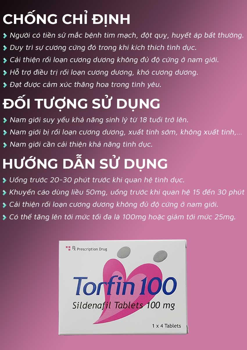Thuốc cường dương Torfin 100mg đối tượng sử dụng và cách dùng