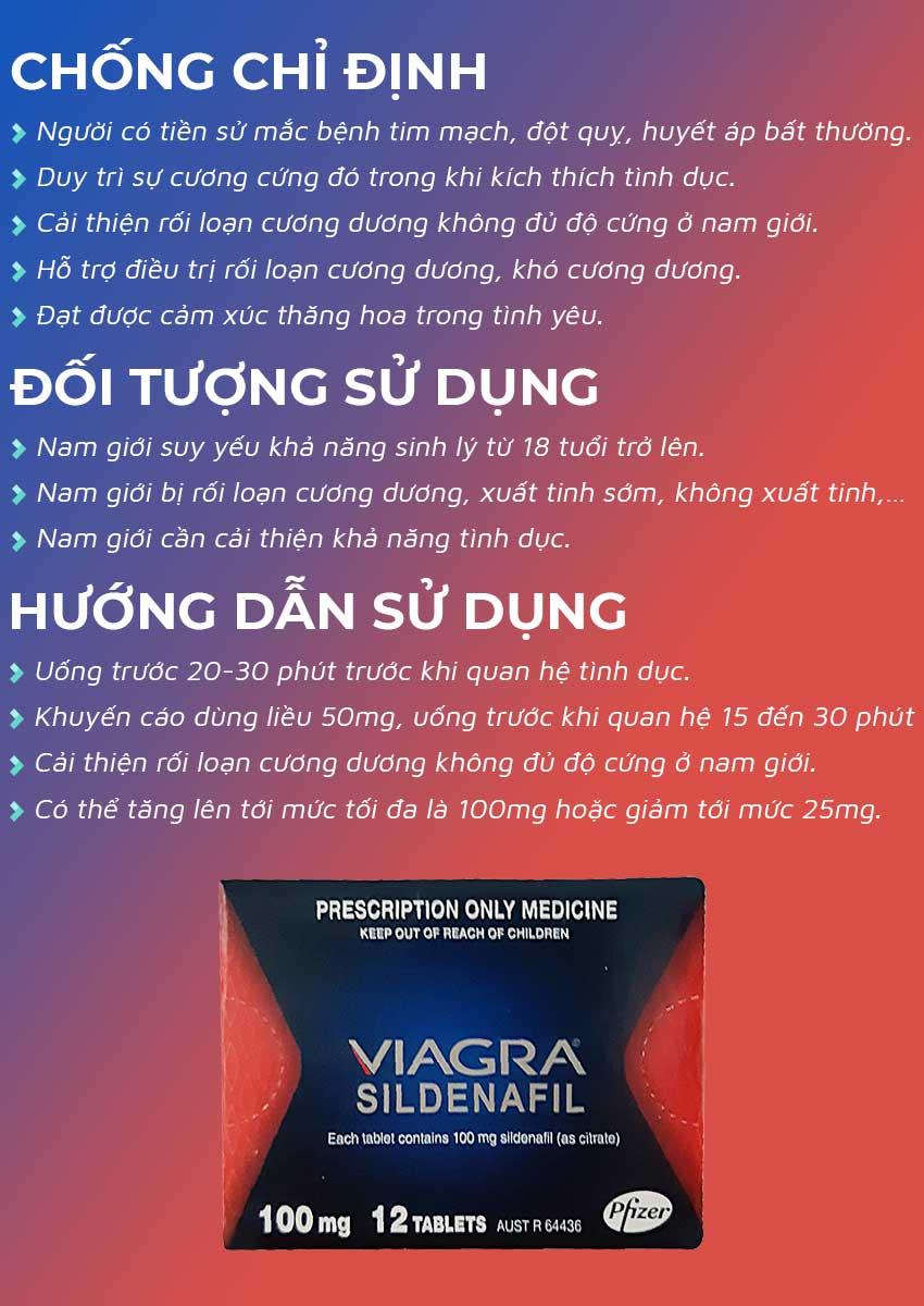 Thuốc cường dương Viagra 100mg đối tượng sử dụng và cách dùng