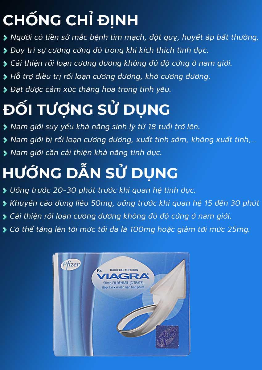 Thuốc cường dương Viagra 50mg đối tượng sử dụng và cách sử dụng