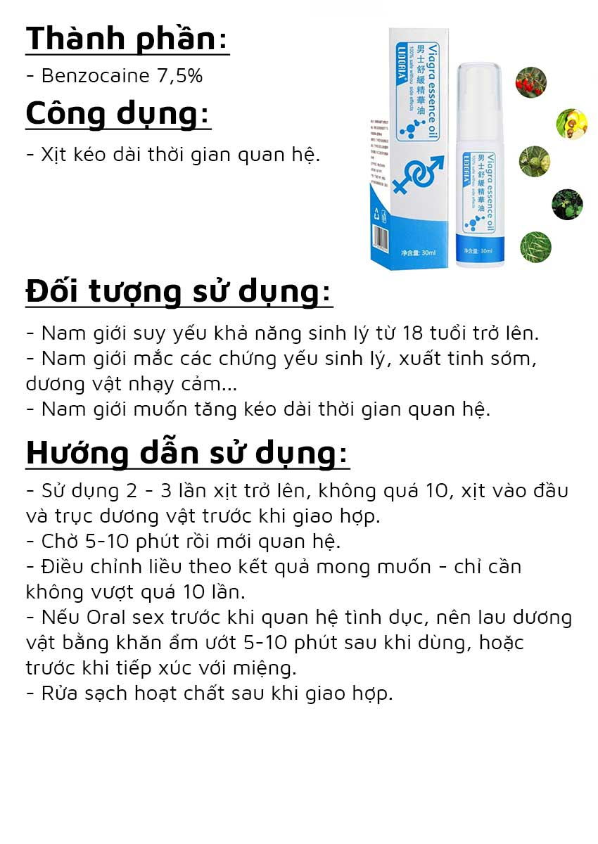 Chai xịt chống xuất tinh sớm Viagra Essential Oil, Chai 30ml
