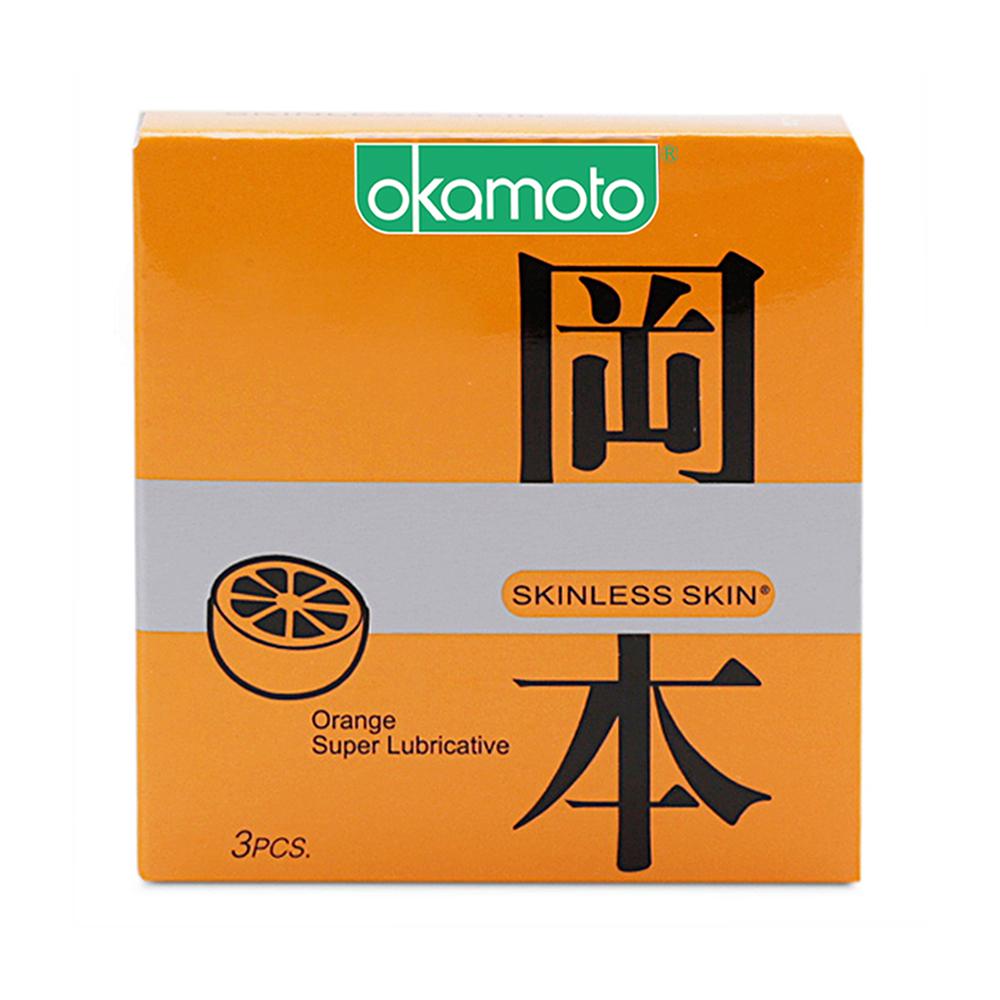 Bao cao su Okamoto Skinless Skin hương cam, Hộp 3 cái