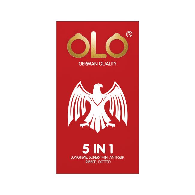 Bao cao su OLO 5 in 1 siêu mỏng, kéo dài thời gian, chống tuột, gân, tăng khoái cảm, Hộp 10 cái