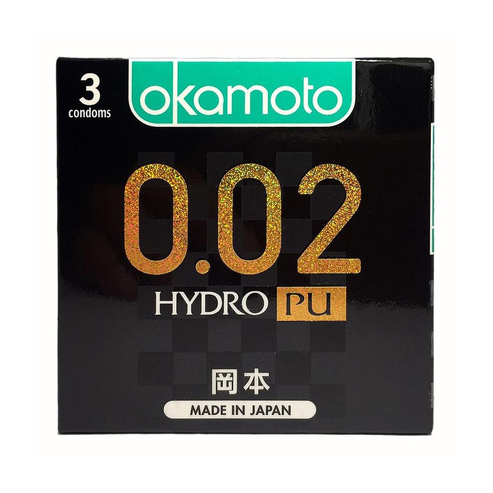 Bao cao su Okamoto 0.02 Hydro PU siêu mỏng truyền nhiệt nhanh, Hộp 3 cái