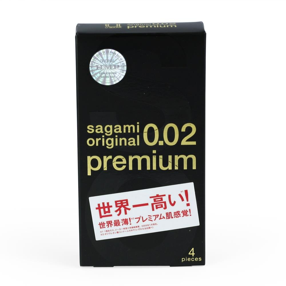 Bao cao su Sagami Original 0.02 Premium siêu mỏng thế hệ mới, Hộp 4 cái