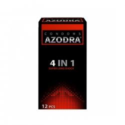Bao cao su Azodra 4 in 1 Super Long Shock màu đỏ, Hộp 12 cái