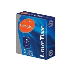 Bao cao su Lifestyles Love Time 4.5% Benzocaine kéo dài thời gian, Hộp 3 cái