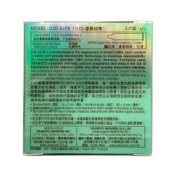 Bao cao su Okamoto 0.03 Aloe siêu mỏng tinh chất lô hội, Hộp 3 cái