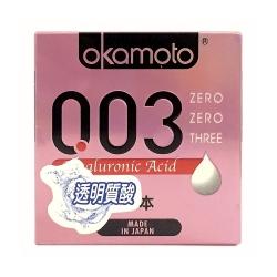 Bao cao su Okamoto 0.03 Hyaluronic Acid sêu mỏng dưỡng ẩm và bôi trơn, Hộp 3 cái