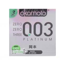 Bao cao su Okamoto 0.03 Platinum siêu mỏng, trong suốt, Hộp 3 cái