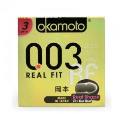 Bao cao su Okamoto 0.03 Real Fit siêu mỏng, ôm sát, Hộp 3 cái