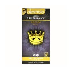 Bao cao su Okamoto Crown siêu mỏng, tăng khoái cảm, Hộp 10 cái