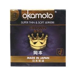 Bao cao su Okamoto Crown siêu mỏng, tăng khoái cảm, Hộp 3 cái