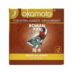 Bao cao su Okamoto Roman gân hoa hồng, Hộp 3 cái