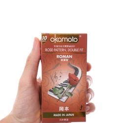 Bao cao su Okamoto Roman gân hoa hồng, Hộp 10 cái