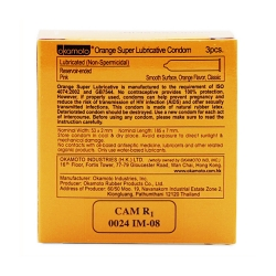 Bao cao su Okamoto Skinless Skin Orange Super Lubricated hương cam, Hộp 3 cái