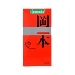 Bao cao su Okamoto Skinless Skin Strawberry hương dâu, Hộp 10 cái