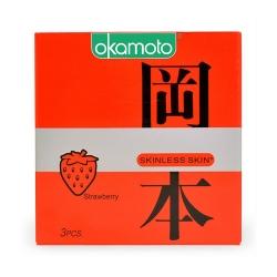 Bao cao su Okamoto Skinless Skin Strawberry hương dâu, Hộp 3 cái