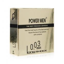 Bao cao su Power Men 0.03 Invi Longshock siêu mỏng, kéo dài thời gian, Hộp 3 cái