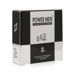 Bao cao su Power Men INVI 0.03 siêu mỏng, bôi trơn, Hộp 3 cái