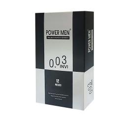 Bao cao su Power Men INVI 0.03 siêu mỏng, bôi trơn, Hộp 12 cái