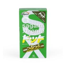 Bao cao su Sagami Xtreme Green nhiều gân, gai, ôm khít, Hộp 10 cái