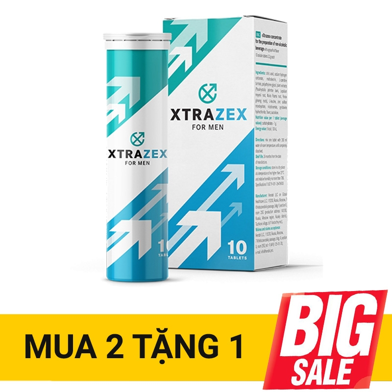 Viên sủi Xtrazex tăng cường sinh lý nam, kích thích ham muốn, Tuýp 10 viên sủi